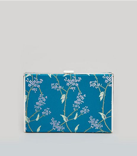 Turquoise Floral Brocade Satin Box Bag | New Look
