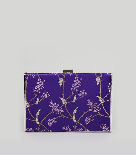 Purple Floral Brocade Satin Box Bag | New Look