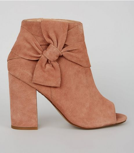 Nude Pink Suede Bow Strap Peep Toe Boots | New Look