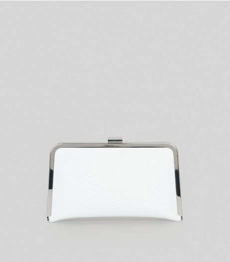 White Snakeskin Metal Frame Clutch Bag | New Look