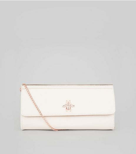 Nude Pink Bee Charm Clutch Bag | New Look