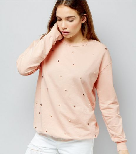 Cameo Rose Pink Pearl Trim Sweater | New Look