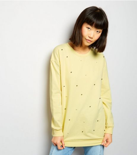 Cameo Rose Yellow Pearl Trim Sweater  | New Look