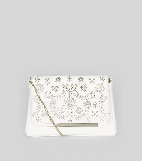 White Laser Cut Shoulder Bag | New Look
