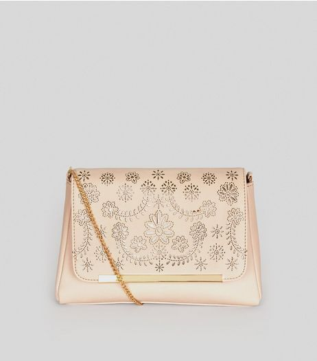 Nude Pink Laser Cut Shoulder Bag | New Look