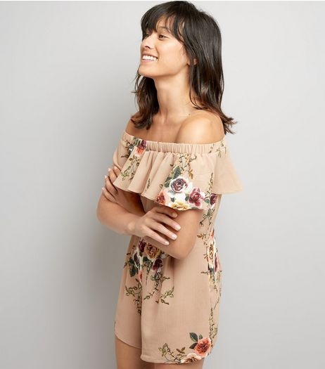 Cameo Rose Stone Floral Print Bardot Neck Playsuit | New Look