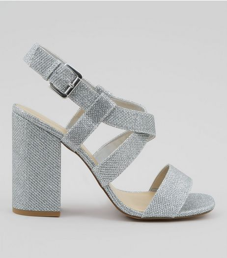 Silver Glitter Cross Strap Block Heels | New Look