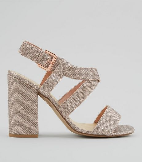 Rose Gold Glitter Cross Strap Block Heels | New Look