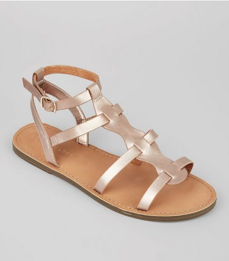 Rose Gold Gladiator Sandals, Sandals | New Look