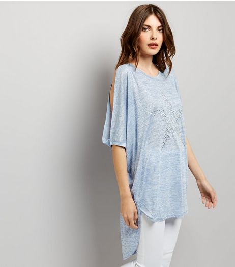 Blue Vanilla Blue Cold Shoulder Batwing Top  | New Look