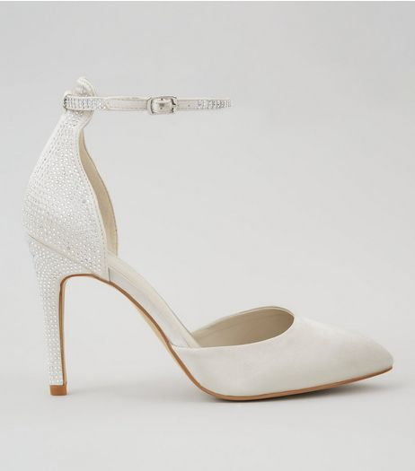 Silver Diamante Stud Pointed Heels | New Look