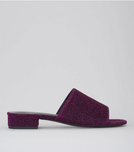 Dark Pink Glitter Mules | New Look