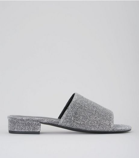 Silver Glitter Mules | New Look