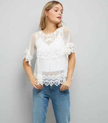 White Crochet Embroidered Mesh Top