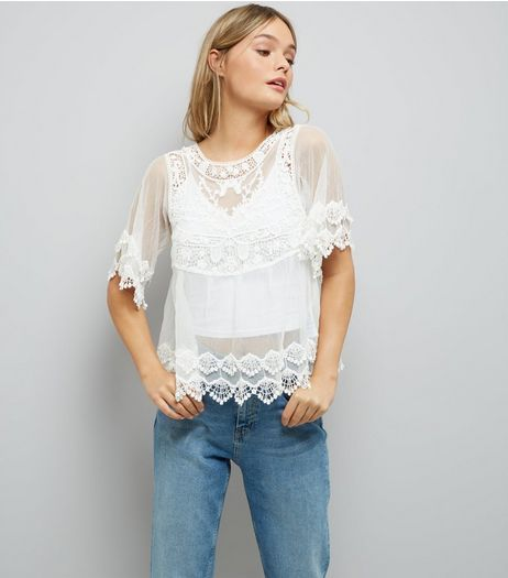 White Crochet Embroidered Mesh Top  | New Look