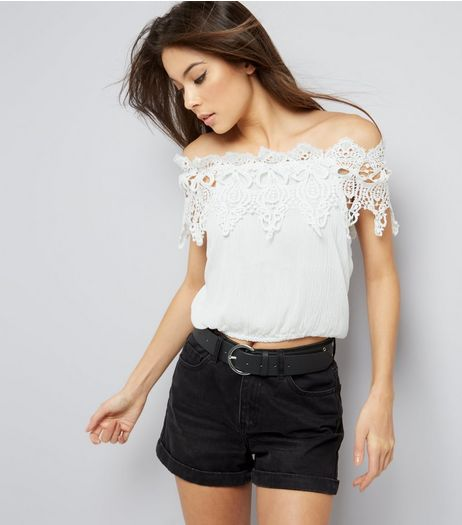 Cameo Rose Lace Trim Bardot Neck Crop Top | New Look