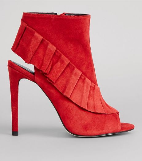 Red Suede Frill Trim Peep Toe Heels | New Look