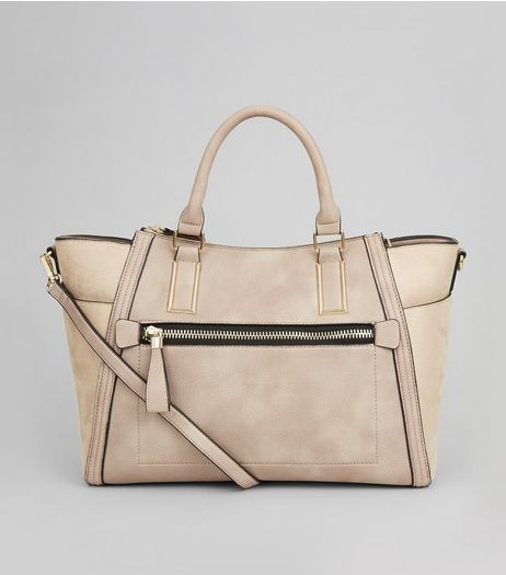 Stone Suedette Panel Tote | New Look