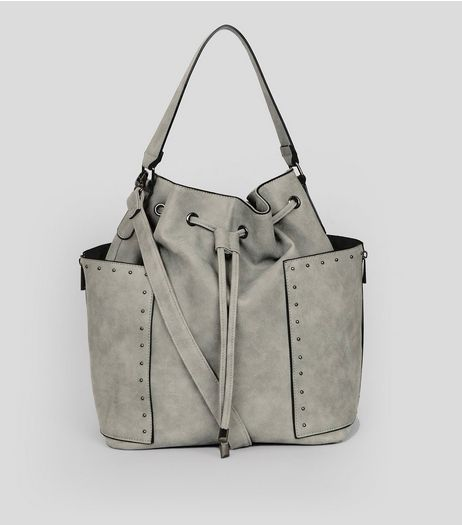 Grey Studded Trim Drawstring Duffle Bag | New Look