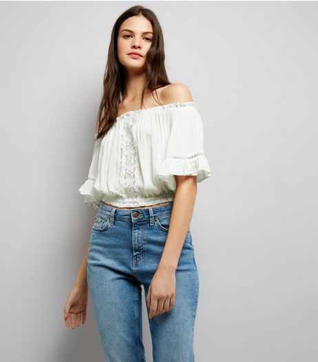 Cameo Rose White Bardot Frill Sleeve Top | New Look
