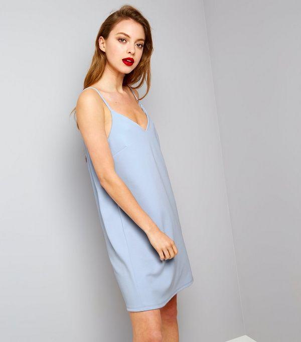 Pale Blue Scuba Mini Slip Dress