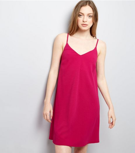 Bright Pink Scuba Mini Slip Dress | New Look