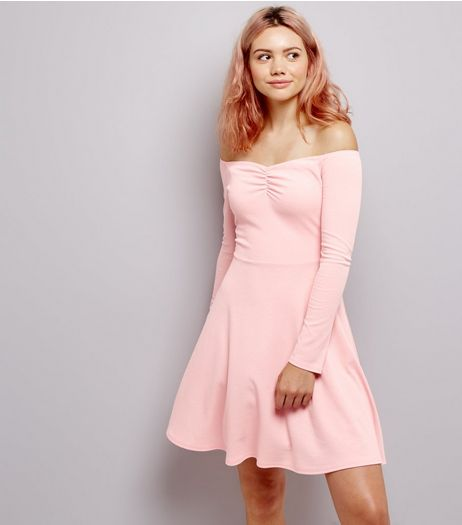Pink Ribbed Jersey Long Sleeve Bardot Neck Skater Dress | New Look