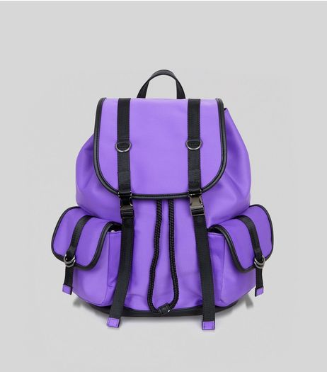 Purple Scuba Contrast Trim Backpack | New Look