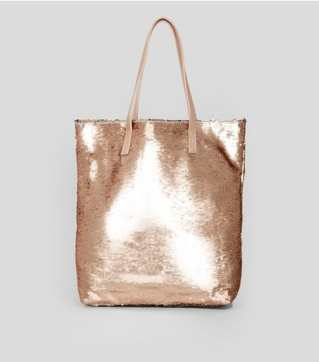 Rose Gold Sequin Shopper Bag | New Look