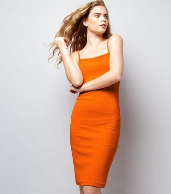 Bright Orange Ribbed Bodycon Midi Dress