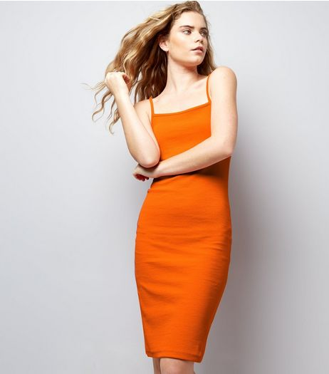 Bright Orange Ribbed Bodycon Midi Dress | New Look