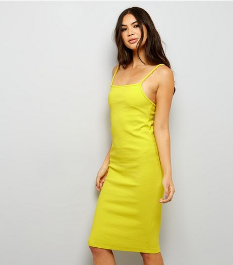 Yellow Ribbed Bodycon Midi Dress | New Look