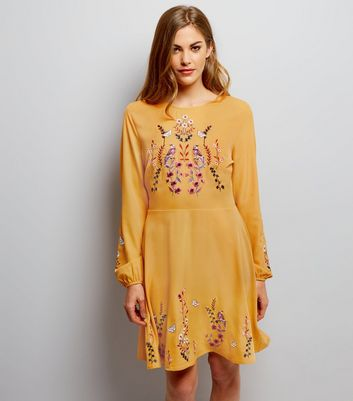 Yellow Bird Embroidered Skater Dress
