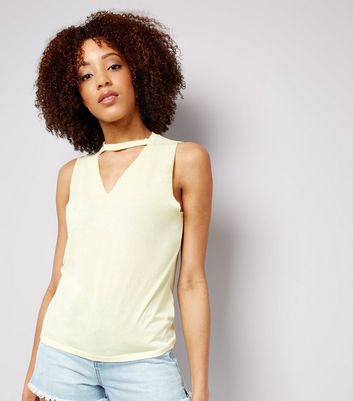 Yellow Choker Neck Cut Out Tank Top