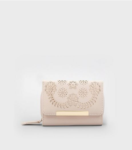 Nude Floral Lasercut Purse | New Look