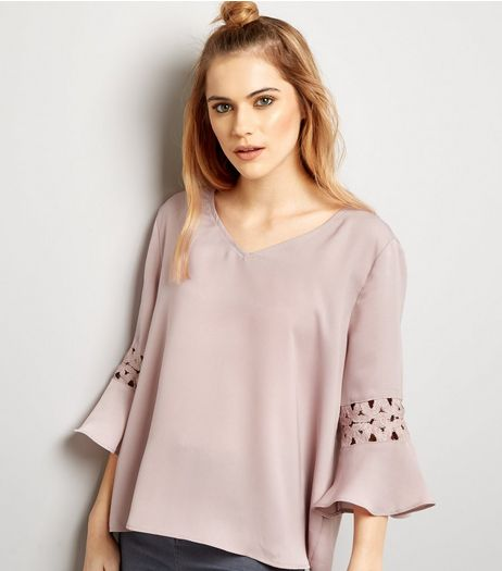 Cameo Rose Pink Crochet Lace Trim Top  | New Look