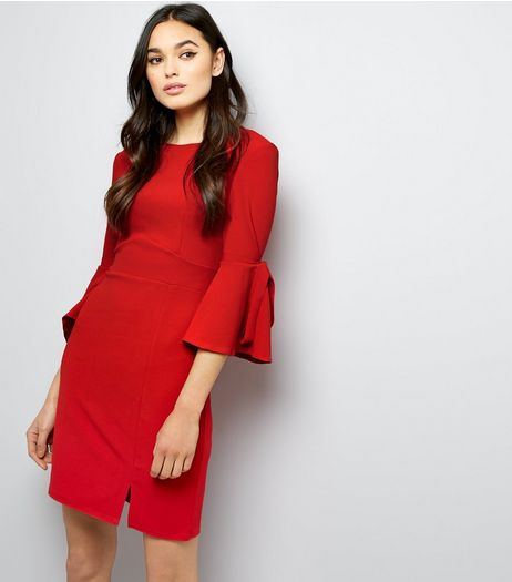 Blue Vanilla Red Frill Tie Sleeve Dress | New Look