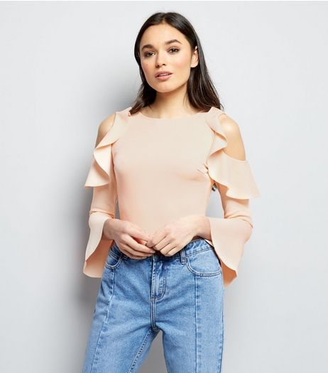 Pink Vanilla Shell Pink Frill Trim Cold Shoulder Bodysuit | New Look