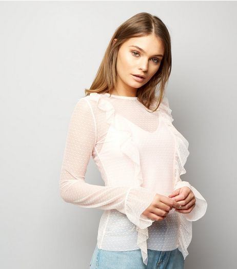 Pink Vanilla Shell Pink Frill Trim Front Mesh Top | New Look