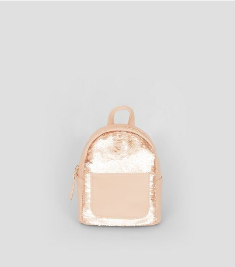 Rose Gold Sequin Mini Backpack | New Look