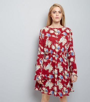 Red Floral Flare Sleeve Skater Dress