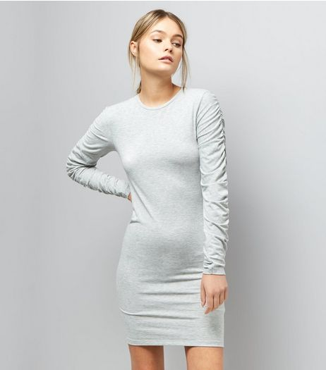 Pale Grey Ruched Sleeve Jersey Bodycon Dress | New Look