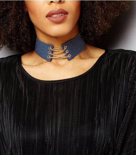 Blue Denim Lace Up Choker | New Look