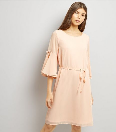 Shell Pink 3/4 Flared Sleeve Tie Waist Tunic Dress  | New Look