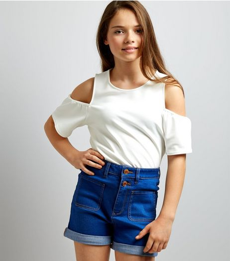 Teens Blue High Waist Pocket Front Denim Shorts | New Look