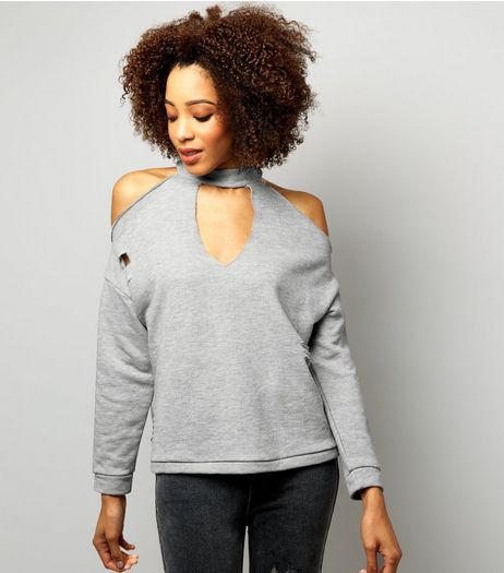 Innocence Grey Choker Neck Cold Shoulder Sweater  | New Look