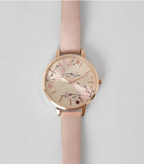 Shell Pink Blossom Dial Watch | New Look
