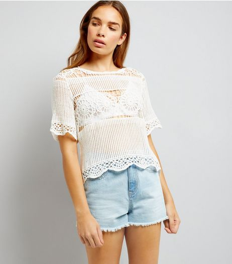 White Crochet T-Shirt | New Look