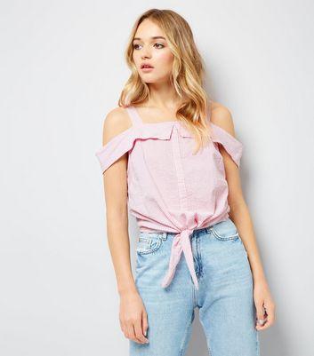Pink Stripe Seersucker Cold Shoulder Top