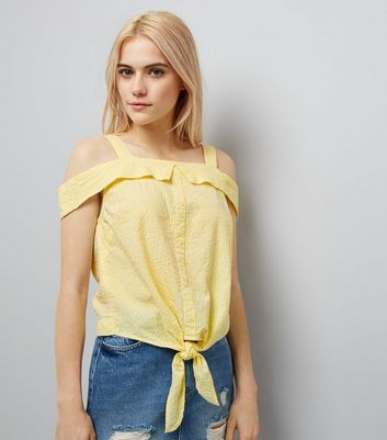 Yellow Stripe Seersucker Cold Shoulder Top